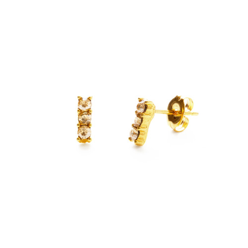 Triple Crystal Studs - Golden Honey