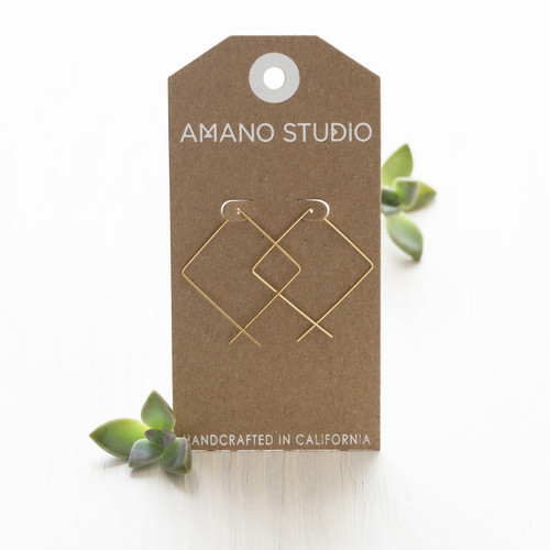Square Threader Hoops - Gold