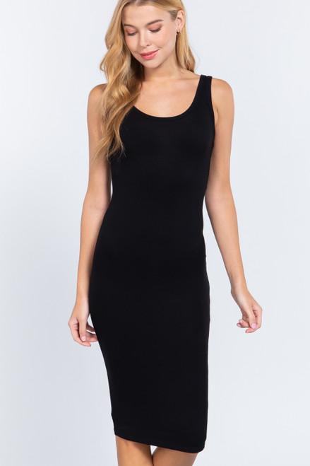 Ribbed Tank Dress - Black