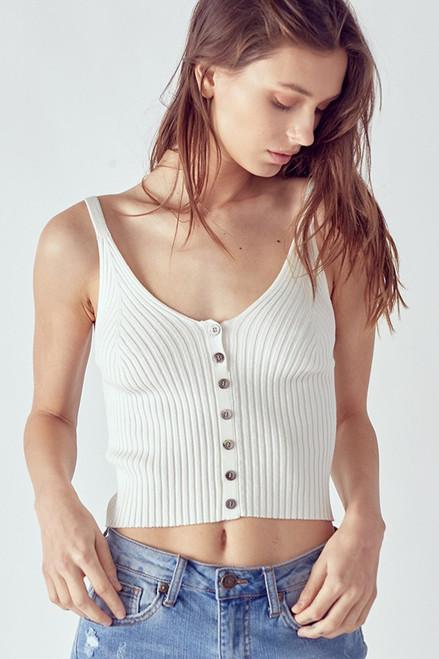 Button Front Cami - White