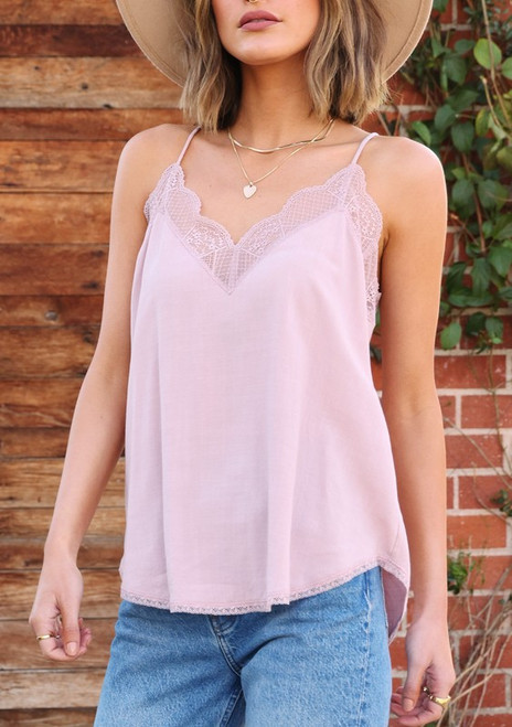 Lace Trimmed Cami - Pale Pink