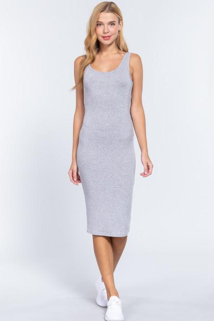 Ribbed Tank Dress - Grey