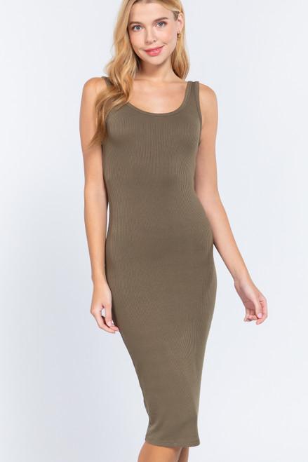 Ribbed Tank Dress -  Olive Green