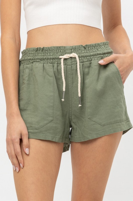 Drawstring Linen Shorts - Olive
