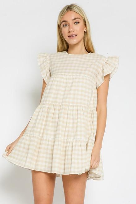 Plaid baby Doll Dress - Khaki