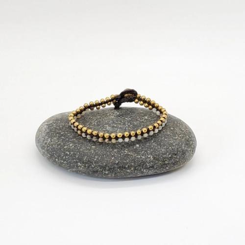 Brass and Stone Split Bracelete - Amazonite