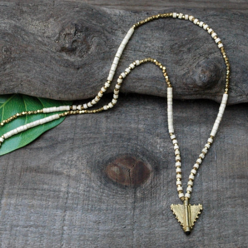 Wood and Brass Arrow Pendant Necklace