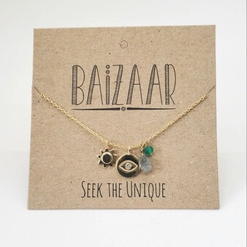 brass Sun, Eye, and Stone Necklace