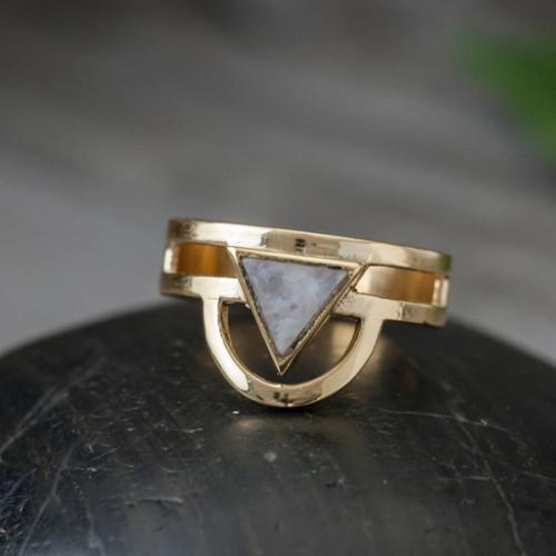 Brass Moonstone Trikona Ring