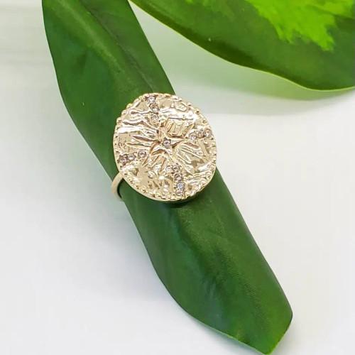 Starlight ring in polished brass w CZs.