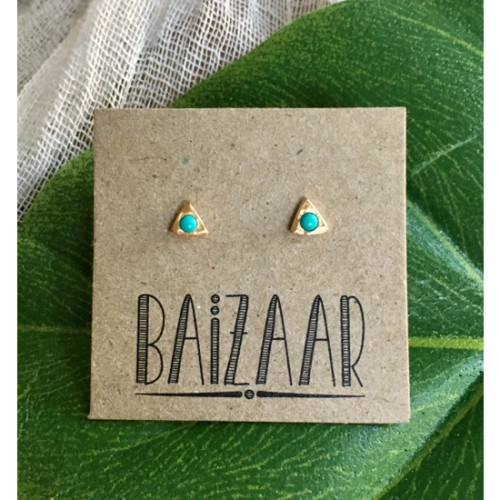 Sterling Silver Triangle Stud - Turquoise