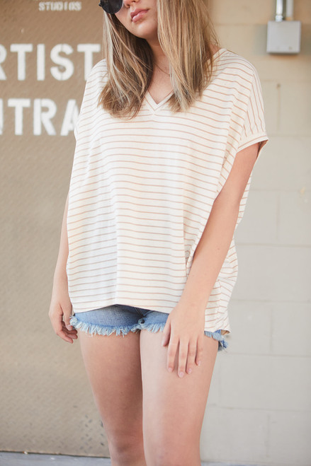 Oversized Striped Top - Taupe