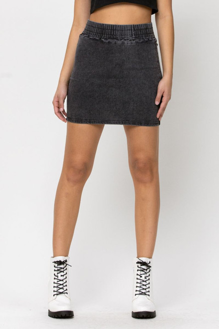 Wide, soft elastic band makes this most comfortable denim skirt you'll ever own!