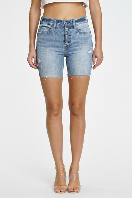 Kailey high rise biker short in Time Out MD. Medium wash denim with whiskering and fading. Exposed front button detail, five-pocket design and belt loops. This fit includes a 10.5 in. high rise and 5 in. inseam. Manufactured in an Eco-friendly fabric and Eco-wash.