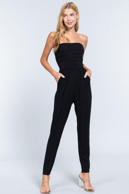 Strapless Pocket Jumpsuit - Black