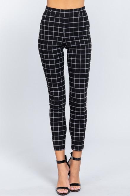 Checkered Yarn Dyed Pants - Black