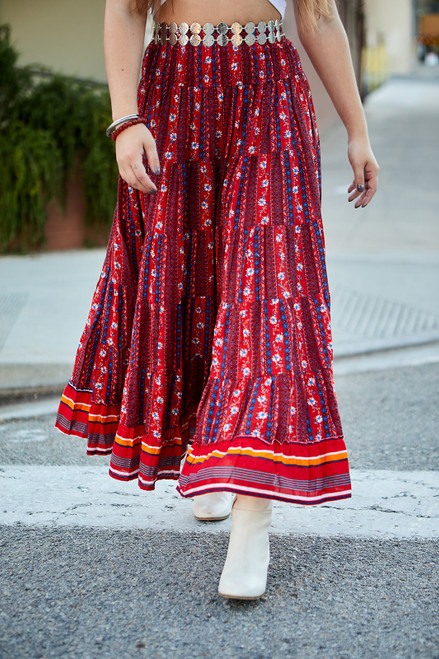 Floral Boho Maxi Skirt - Red
