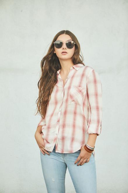 Rayon Plaid Button Down Shirt - Rose