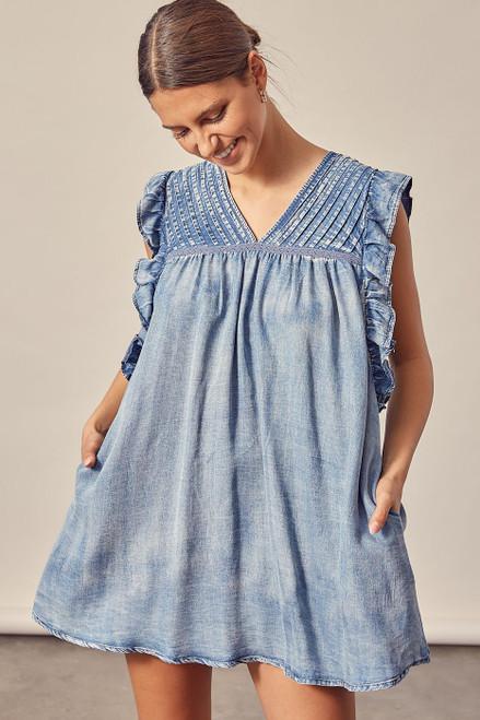 V-Neck Pleated Denim Dress - Blue