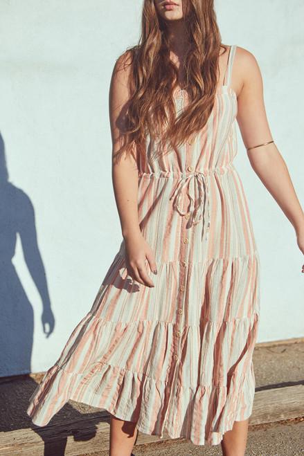 Summer Stripes Dress - Coral