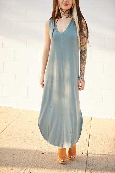 Sleeveless Tee Dress - Sage