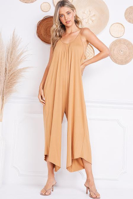 Jumpsuit with Palazzo Legs - Mustard