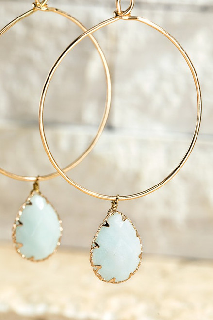 Stone Hoop Earring - Amazonite