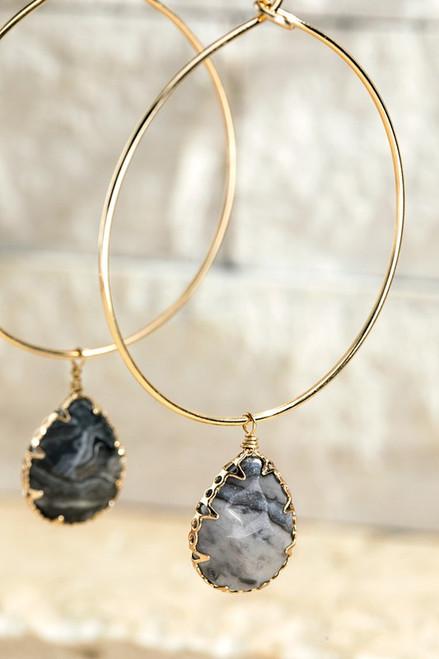 Stone Hoop Earring - Crazy Jasper