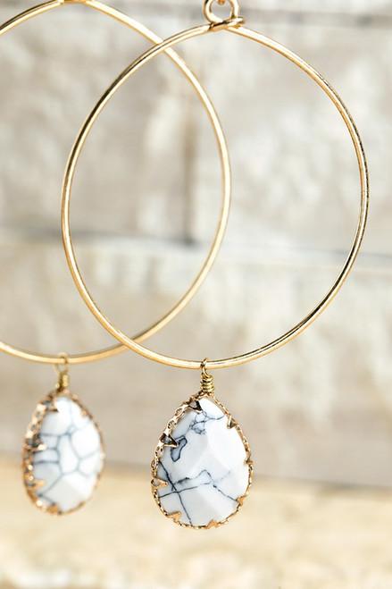 Stone Hoop Earring - Howlite White