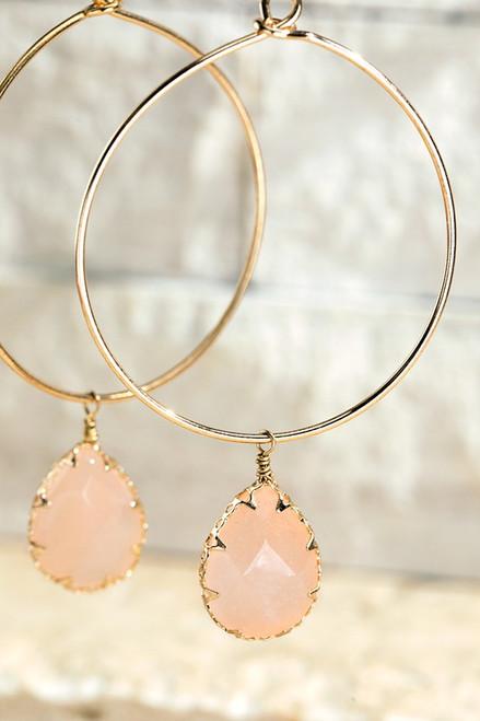 Stone Hoop Earring - Peach