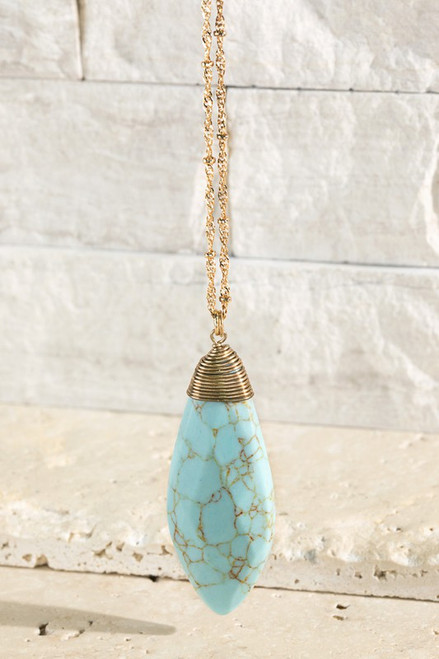 Oval Faceted Necklace - Turquoise