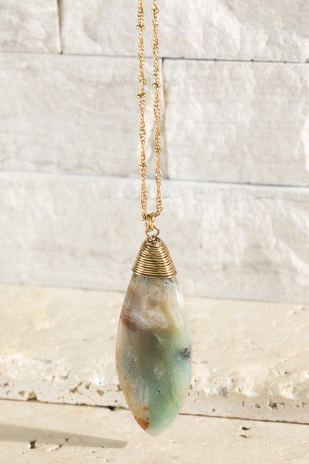 Oval Faceted Necklace - Amazonite