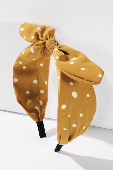 Polka Dot Bow Head Band - Mustard