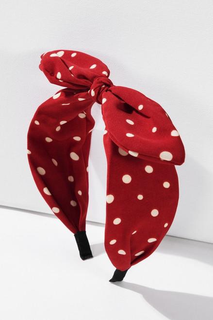 Polka Dot Bow Head Band - Red