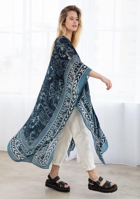 Geometric Bohemian Kimono - Dark Teal