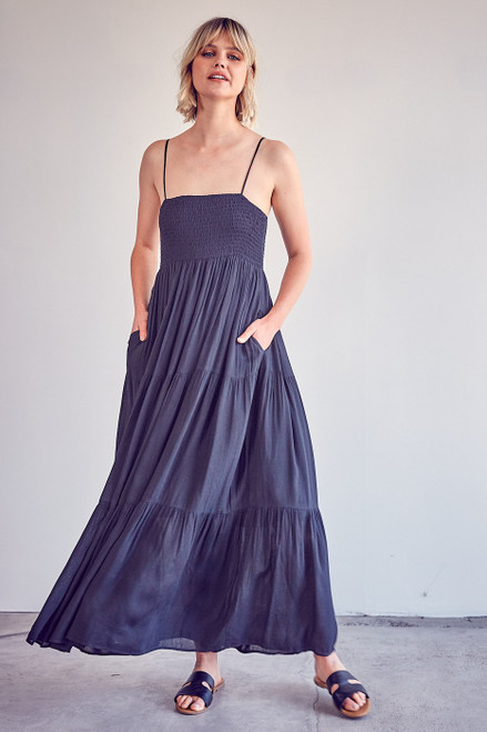 Smocked Tank Maxi Dress - Black