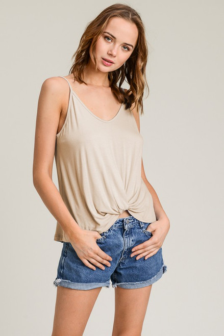 Knot Front Tank - Taupe