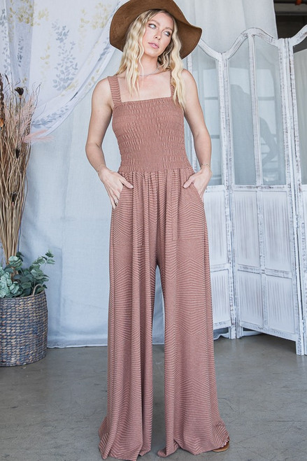 Textured Knit Jumpsuit - Mocha