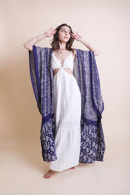 Ruffled Kimono - Blueberry