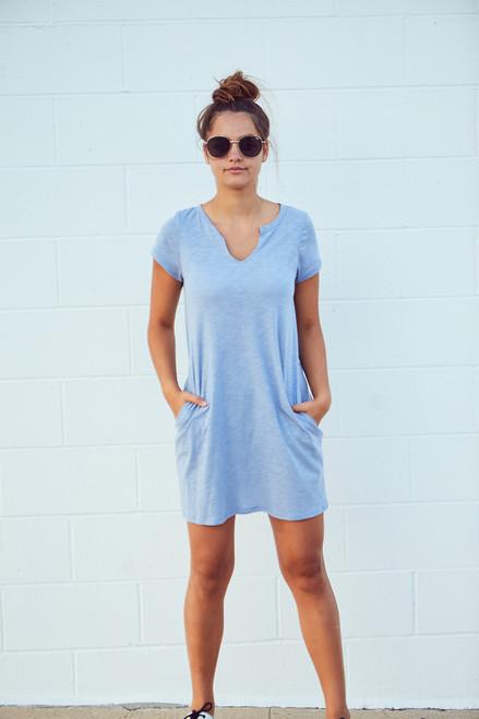 Slub Tee Dress - Blue