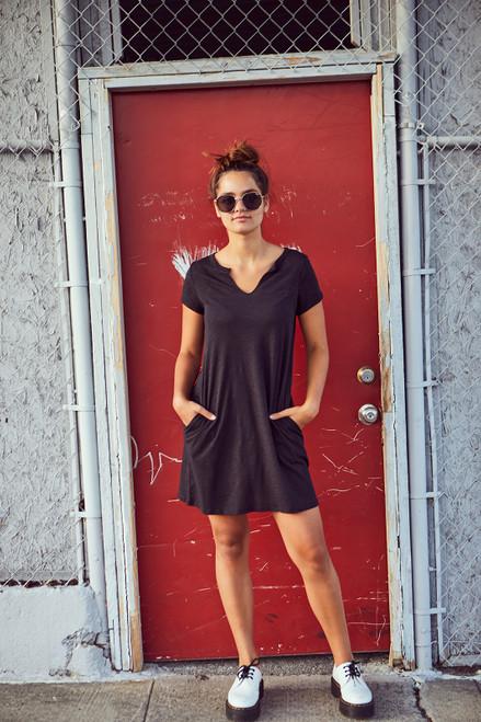 Slub Tee Dress - Black