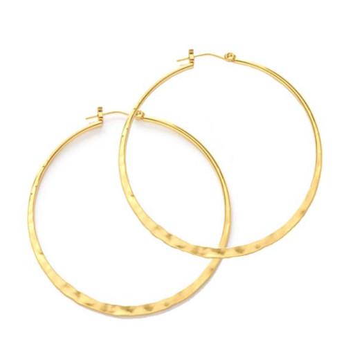 """2"""" Hammered Hoop - Gold"""