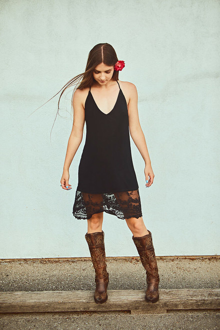 T-Back Midi Lace Slip Dress - Black