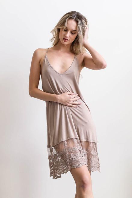 T-Back Midi Lace Slip Dress - Taupe