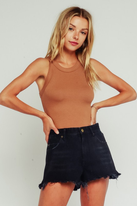High Neck Tank - Taupe