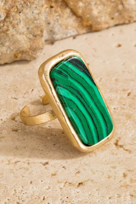 Natural Stone Ring - Malachite