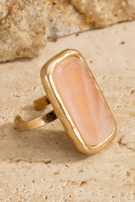 Natural Stone Ring - Rose Quarts