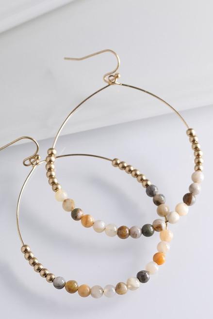 Natural Stone Earrings - Multi Color