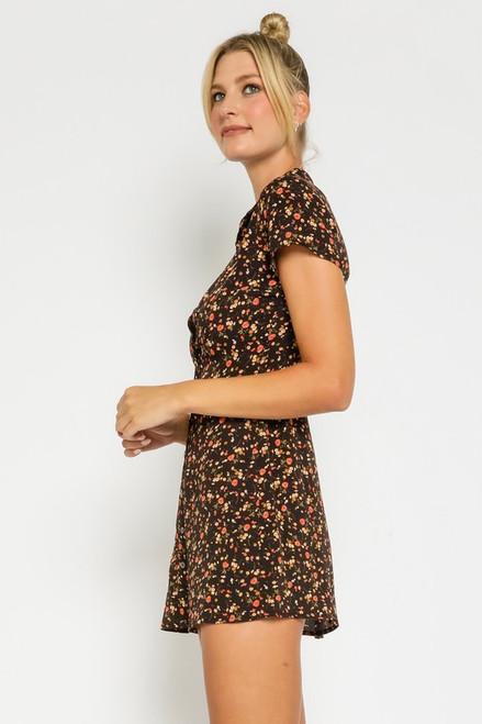 Floral Shirt Dress - Blood Orange