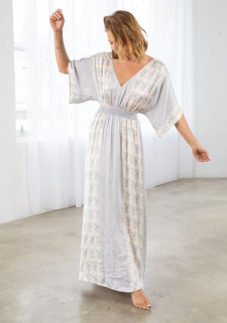 Sleeve Dolman Dress - Natural/Grey
